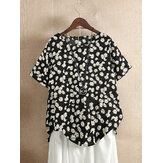 Daisy Floral Print O-neck Short Sleeves Vintage T-shirts For Women