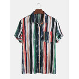 Mens Cotton Colorful Stripe Printed Tie-Dyed Holiday Casual Short Sleeve Shirts