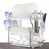 2/3Tier Dish Drying Rack Tableware Organizer Shelf Plated Iron Kitchen Washing Holder Basket With Utensil Holder