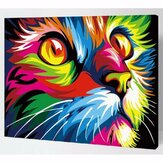Multicolor Cat Oil Painting Set By Number Kit DIY Pigment Painting Art Hand Craft Tool