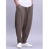 Mens Cotton Lightweight Breathable Wide Leg Loose Yoga Freizeithose