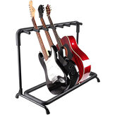 Multi Guitar Stand 7 Holder Foldable Universal Display Rack - Portable Black Guitar Holder for Classical Acoustic, Electric, Bass Guitar and Guitar Bag/Case