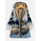 Landscape Print Hooded Long Sleeve Thick Coat For Women