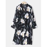 Женская удобная пижама с цветочным принтом и воротником Revere с длинным рукавом и контрастным переплетом