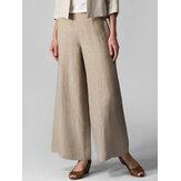 Dames effen casual katoenen elastische taille wijde pijpen broek met zak