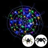 ハロウィーンLEDスパイダーウェブストリングライト屋外ホラーパーティー小道具ランプクモの巣不気味な装飾