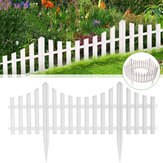 24Pcs White Flexible Plastic Garden Picket Fence Lawn Grass Edge Edging Border