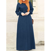 Original              Women Solid Denim Button Down Elastic Cuffs Kaftan Loose Maxi Dresses