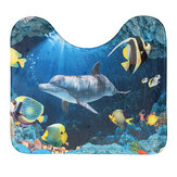 3Pcs Seabed Dolphin Non-Slip Bathroom Toilet Seat Cover Pedestal Rug Mat