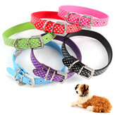 PU lederen halsbanden Diamante halsband Pet Bling Puppy klein Medium groot vlekkerig