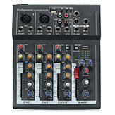 48V Professional 4-Channel Live Studio Áudio Som USB Mixer Mixing Console