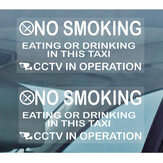 2PCS Taxi Minicab Warning Window Stickers No Smoking Eating Drinking-Cab CCTV