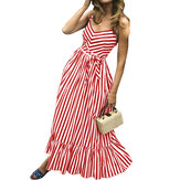 Women Striped Straps High Waist Sleeveless Maxi Dress