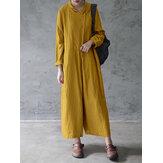 Macacão feminino amarelo mostarda cor sólida botão de algodão solto com bolsos laterais