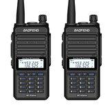 2 uds BAOFENG X3-Plus 9500mah 18W Tri-band Radio Walkie Talkie 20 KM Impermeable Transceptor UHF / VHF 220MHz Radio Transmisor Enchufe negro de la UE