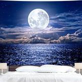 Impressão em 3D Sea Moon Night Tapeçaria Suspensão de parede Decoração para casa para sala de estar Quarto Office Material de pano de parede