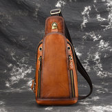 Men Brushed Vintage Genuine Leather Chest Torba Torba na ramię