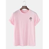 Mens Rose Print Crew Collo T-shirt casual a maniche corte in cotone