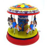 Classic Vintage Clockwork Wind Up  Merry-Go-Round Children Kids Tv Toys With Key