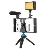 PULUZ PKT3023 الهاتف الذكي فيديو Rig LED Studio ضوء فيديو Shotgun Microphone Mini Tripod Mount Kits