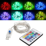 USB Powered 5.3M 50LEDs RGB 8 modalità Silver Wire Fairy String Light + Telecomando per Natale
