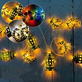 Eid Mubarak LED String Light Palace Stars Moon Ramadan Festival Decoration Hanging Lamp