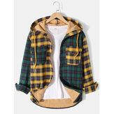 メンズClassicチェック柄パッチワーク胸ポケット暖かい裏地付きフード付きジャケット