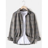 Mens Cotton Plaid Lapel Drop Shoulder Relaxed Fit Overshirt With Pocket
