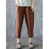 Women Solid Elastic Waist Cotton Pants