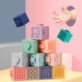 12ピース赤ちゃん触覚知覚芸術と科学Softビルディングブロック把持トレーニングおもちゃ