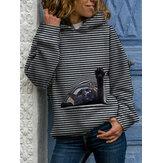 Women Cartoon Cat Print Horizontal Stripe Casual Long Sleeve Hoodies