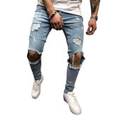 Mens Denim Pantaloni Holes Sottile Fashion Mid Rise Jeans