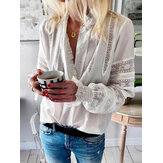 Lace Patchwork Button V-Neck Ruffles Collar Casual Blouse