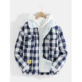 Mens Classic Plaid Warm Sherpa Lined Chest Pocket Jacket