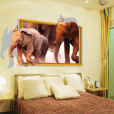Wall Stickers 3d Three-dimensional Elephant Window Simulation Stickers Living Room Decoration Stickers Furniture Creative