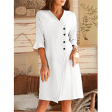 V-neck Oblique Placket Design Bell Sleeve Casual Dress