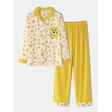 Frauen Baumwolle Kuh Muster Camp Kragen Elastic Waist Rib Pants Zweiteiliges Pyjama Set