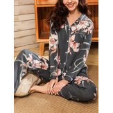 Women Floral Print Revere Collar Long Sleeve Button Up Tops Pants Home Casual Pajama Set