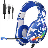 J10 Game Headset 3.5mm + USB 40mm Drive Wired Stereo RGB Gaming Hoofdtelefoon met Mic LED Light voor Computer PC Gamer