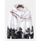 Mens Design Landscape Print Kangaroo Pocket Drawstring Hoodies