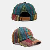 2 PCS Multicolor Plush Soft Tecido Stripe Padrão Moda Casual Gorro Quente Landlord Cap Caveira Boné de Beisebol Chapéu Masculino