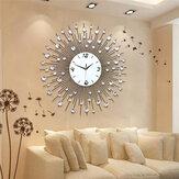 Nouveau Luxe Scenic Fer Art Métal Salon Rond Diamant Horloge Murale Décor À La Maison