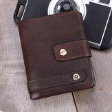 رجال RFID جلد طبيعي مضاد للسرقة فتحات بطاقة متعددة ريترو عملة محفظة طوي بطاقة حامل المحفظة