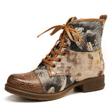 SOCOFY Retro Genuine Leather Newspaper Pattern Flat Ankle Boots