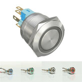 12V 6 Pin 22mm Led Light Metaal Push Knop Momentiaire Schakelaar Waterproof Schakelaar