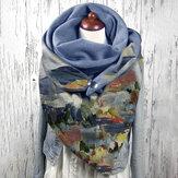 Женщины Граффити Масло Живопись Принт Шаблон Многоцветный Soft Личность Шея Защита Сохраняйте Теплый шарф