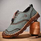 حذاء كاجوال رجالي من الجلد الصناعي من الألياف الدقيقة Soft يسمح بمرور الهواء وخياطة يدوية