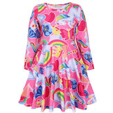 Kids Clothing Unicorn Printed Long Sleeve Casual Girls Pleated Dress