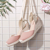 LOSTISY Women Espadrilles Strappy Casual Summer Wedge Sandals