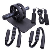 5PCS/SET AB Wheel Roller Kit Abdominal Muscle Fitness Push-UP Bar Jump Rope Equipment Home Exercise